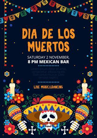 Dia de los muertos festliche Einladungskarten-Design-Vektor-Illustration. Zuckerschädel in Sombrero mit Maracas und Blumenmuster für einen einladenden mexikanischen Tag des toten flachen Stilkonzepts. Platz kopieren