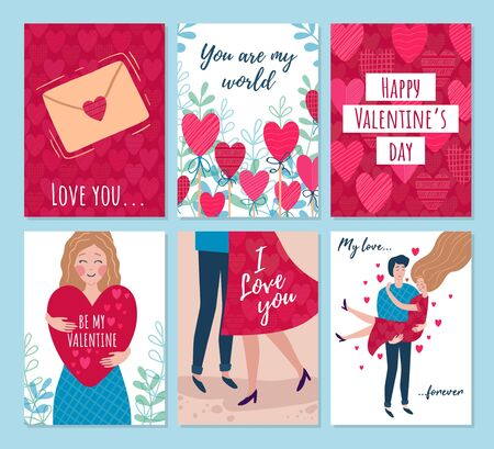 Valentines day cards, woman and man hugging vector illustration. Collection of romantic festive poster you are my world, love you and be mine in red with hearts color