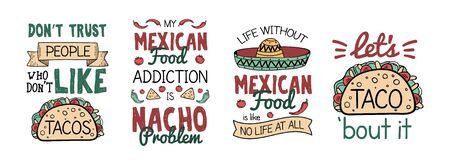 Mexican food like taco and nacho with sombrero symbol vector illustration. Poster with quote and sombrero symbol on white. Collection of hand-drawn lettering and mexico meal