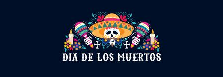 Dia de los muertos greeting card festive design vector illustration. Mexican day of dead banner with skull in sombrero and maracas with floral composition flat style concept Vector Illustration