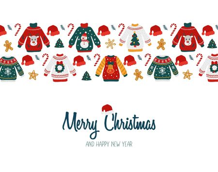 Merry Christmas and Happy New year greeting card vector illustration. Template with ugly sweaters candies gingerbreads and santa claus cap flat style design. Holidays congratulations concept
