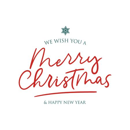 We wish you Merry Christmas and Happy New Year vector illustration. Winter holiday postcard in white color decorated by handwriting lettering and snowflake symbol Ilustrace