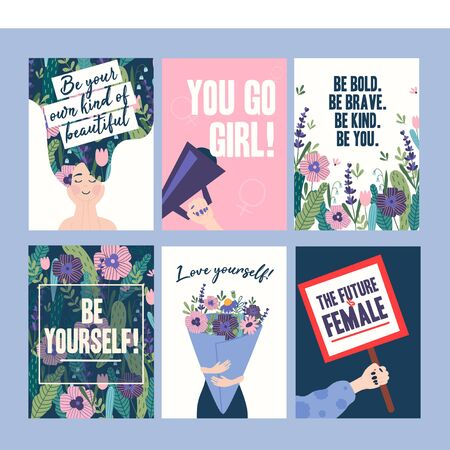 Inspirational cards with woman character and flowers vector illustration. Be your own kind of beautiful, you go girl the future is female. Postcard with bouquet of blossom and girl