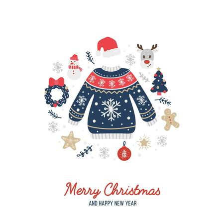 Merry Christmas greeting card with cute warm sweater vector illustration. Holiday congratulations Happy New Year with xmas symbols flat style concept. Isolated on white Ilustração