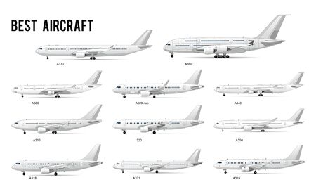 Different kind airplanes commercial models set vector illustration. Collection consist of modern types of best aircrafts flat style design. Large and small air passenger ship. Isolated on white