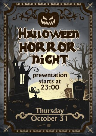 Halloween horror night presentation poster vector illustration. Scary invitation on celebrating All Saints Eve with angry pumpkins and frightful mansions flat style. Hallows Evening concept Çizim