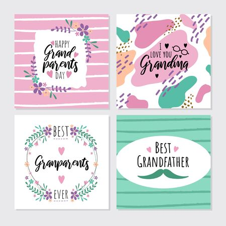 Happy grandparents day greeting cards set vector illustration. Colorful poster I love you grandma, best grandpa decorated by heart and flowers. Holiday card with wishes for relatives