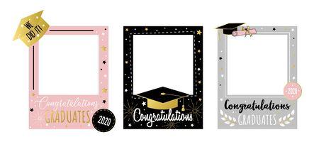 愉快的祝贺毕业生照片亭子设置了传染媒介例证。五颜六色的2020框架设置与快乐的词组我们用金黄字体题字做了它。学校概念结束