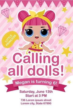 Cute doll party invitation in pink color template vector illustration. Little princess calling all dolls, poster in flat design style. Holiday card with girl is turning 6 Çizim