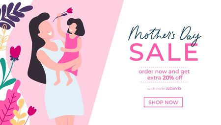 Mothers day greeting card and sale banner vector illustration. Website or webpage template in pink color and flower symbols. Shopping online with buy code and 20 present discount