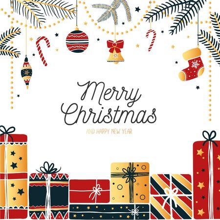 Joyful greeting card merry christmas joyful festive design vector illustration drawn in happy x-mas holidays bright tones. Attributes of winter candy cane, christmas socks. Happy holidays concept