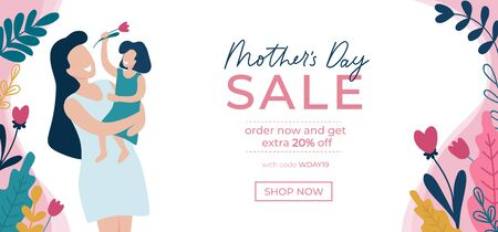 Mothers day sale banner template with flowers vector illustration. Shopping online with code and 20 percent discount off. Mom holding daughter and flower symbol