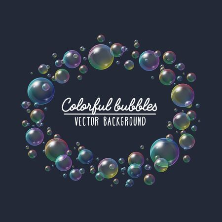 Colorful festive soap bubbles vector background. Transparent bubble blower frame with rainbow iridescent reflection illustration on navy blue for your design Illustration