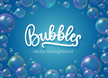Festive bubbles with rainbow reflection vector illustration. Transparent soap balls with glares, highlights and gradient on blue background for your design Illustration