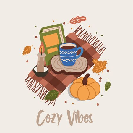 Cozy vibes cute card or poster with book and cup of beverage vector illustration. Postcard decoration by fall leaves, hot cup of tea, pumpkin and mat. Autumn mood on card with foliage