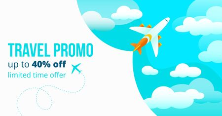 Travel promo up to forty percents off poster vector illustration. Add banner with blue sky and flying airplane limited time offer for tourists to travel abroad flat style design. Travelling concept Vettoriali