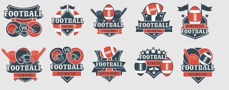 Football emblems and prints template collection vector illustration. Set of emblems created with sport inventory put in different positions and shapes flat style design. Sportsman fan concept