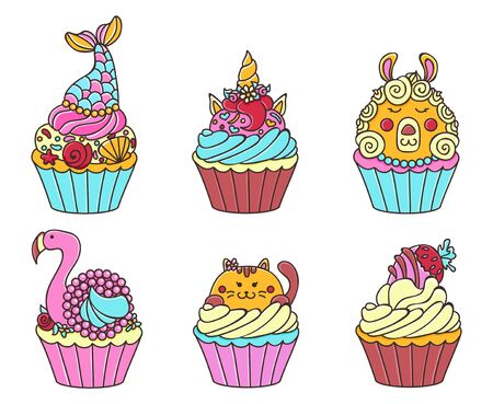 Cute cupcakes with pretty sweet animals set vector illustration. Collection of delicious cakes with fairy-tale heroes flat style concept. Isolated on white