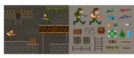 Pixel military shooter character game diy constructor vector illustration. Collection of high-textured 8-bit models of old but playable arcade fps game flat style concept