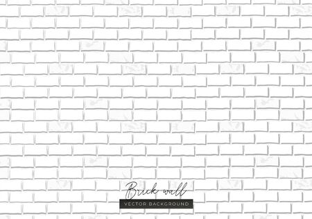 White brick wall endless texture background vector illustration. Repeatable minimal whitey painted brick wall seamless pattern flat style concept. Empty place for text Ilustrace