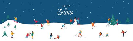 Let it snow happy people performing activities poster vector illustration. Young female and male characters enjoying snowflakes in park flat style design. Happy holidays concept