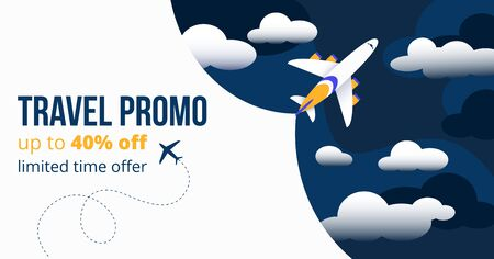 Travel promo up to forty percents off banner vector illustration. Add template showing limited offer time for tourists and foreigners to travel abroad with comfort flat style concept