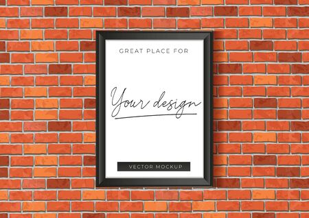 Mockup template with red brick wall poster vector illustration. Empty great place for your design in frame on red bricks background flat style concept