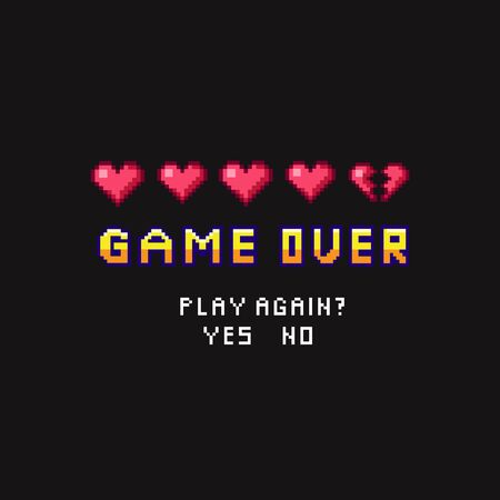 Game over pixel death screen with red hearts template vector illustration. Pixelated inscription asking person play again with answer options yes or no flat style concept