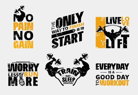 Everyday no pain no gain workout poster set vector illustration. Gym motivational template with barbell and plates of hard metal to make people stronger flat style design. Training concept