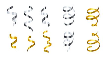 Silver and golden spiral ribbons festive set vector illustration. Decoration for banner, invitation, greeting cards with grey and yellow falling streamers flat style concept. Isolated on white