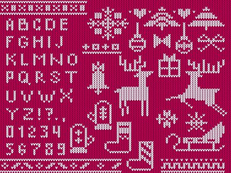 Knitted christmas alphabet and decorative xmas symbols vector illustration. Template with cute ugly sweater made in red and white tones showing christmas mood flat style design. Happy holidays concept Ilustrace