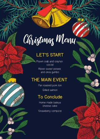 Festive christmas menu template with decorative elements vector illustration. Template consisting of lets start, main event, to conclude flat style design. Happy holidays concept