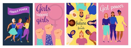 Female power inspirational quotes posters collection vector illustration. Set of templates with feminist slogans flat style design. Woman rights concept