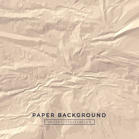 Crumpled crafted beige paper background vector illustration. Template of squeezed surface with empty place for text. Big square ruined sheet of drawing area flat style design Ilustrace