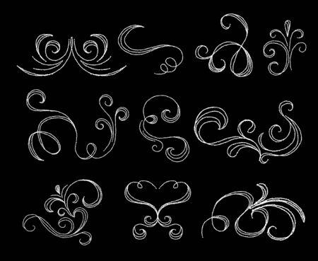 Chalk flourishes collection on dark background vector illustration. Set of elegant vintage floral elements for invitations, wedding, birthday design on chalkboard.