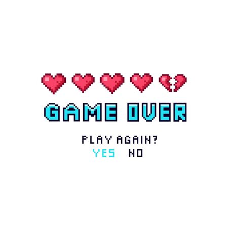 Game over pixelated death screen template vector illustration. Colorful inscription designed in pixels symbol asking gamer play again and suggesting answers options yes or no on white background Ilustrace