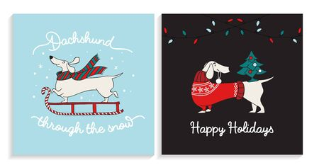 Dachshund christmas greeting happy cards set vector illustration. Template with smiling xmas dog enjoying winter holidays in cozy and warm clothes flat style design. New year concept