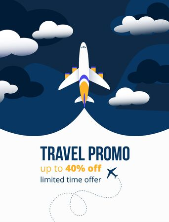 Travel promo up to forty percents discounting flyer vector illustration. Add banner showing limited offer time for tourists and foreigners to travel abroad with comfort flat style concept