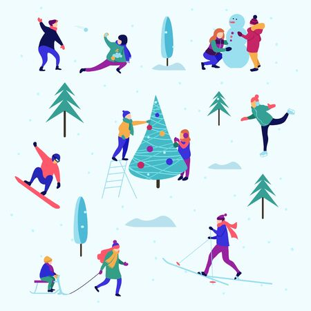 Winter pattern or background with people performing activities vector illustration. Young female and male characters skiing, skating, sledging in park flat style design. Happy holidays concept
