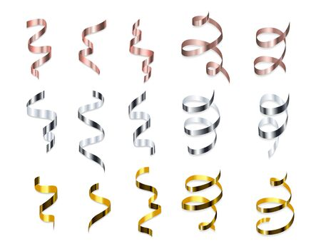 Multicolored spiral realistic ribbons set vector illustration. Decoration for banner, invitation, greeting cards with silver, golden and rose gold streamers falling flat concept. Isolated on white