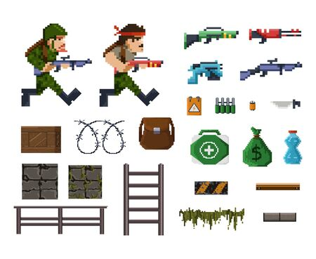 Pixel art objects and characters for shooter game vector illustration. Template high-textured 8-bit models of old but playable arcade fps game flat style concept Isolated on white Ilustrace