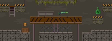 Pixel art military shooting objects for game vector illustration. Template of underground tunnel with stairs and obstacles flat style design. Computer games concept Ilustrace