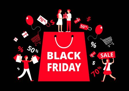 Black Friday sale inscription design template vector illustration. Big red bag and small people with purchases, presents, gifts flat style design. First day of traditional christmas shopping Ilustrace