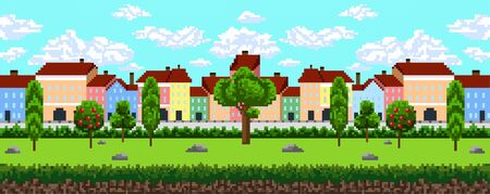 Seamless pattern of pixel city background vector illustration. Nice houses in summer landscape with green trees and blue sky for adventure game on 8-bit platform flat style concept Ilustrace