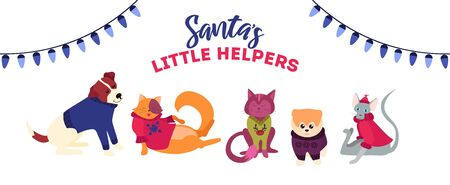 Xmas cute and festive illustration with cats and dogs template vector illustration. Santas little helpers wearing funny costumes flat style design. Holidays concept