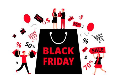 Black friday sell-out colorful banner or flyer vector illustration. Big black package and small people running towards it flat style design. Trolleys, presents around bag. Percentage discount concept Ilustrace