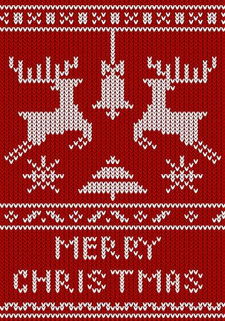 Merry christmas greeting card with knitted decorative elements vector illustration. Cute festive template in jumper style with xmas symbols and ornament flat style design. Happy holidays concept Ilustrace