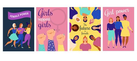 Girl power inspirational quotes posters set vector illustration. Collection of feminine statements hyping depressed women with joyful postcard flat style concept