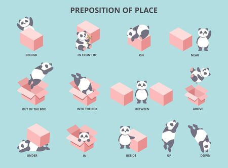 Cute panda with prepositions of place set vector illustration. Collection of pretty small bear positioning against big box to help children study english flat style concept Stock Vector - 134069168