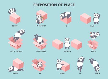 Słodka panda z przyimkami miejsca zestaw ilustracji wektorowych. Kolekcja całkiem małego niedźwiedzia pozycjonująca się na dużym pudełku, aby pomóc dzieciom uczyć się angielskiego pojęcia płaskiego stylu